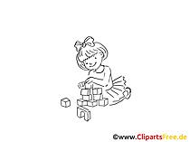 Spielen mit Bausteinen Zeichnung, Bild schwarz-weiss, Clipart, Comic, Cartoon kostenlos