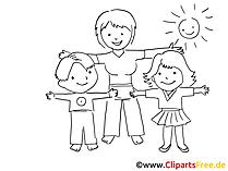 Sport im Kindergarten Zeichnung, Bild schwarz-weiss, Clipart, Comic, Cartoon kostenlos