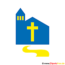 Niestandardowe zaproszenia Komunia z projektem clipart - kościół we wsi