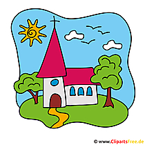Kirche Clipart-Bild - Einladungskarten für Kommunion selbst gestalten