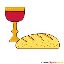 Zaproszenia komunijne z darmowym clipartem - chlebem i winem
