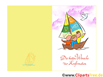 Konfirmation Illustration, Clip Art, Klappkarte, Glüchwunsch