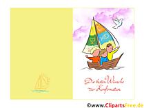 Konfirmation Illustration, Clip Art, Klappkarte, Glüchwunsch