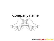 翼のロゴのテンプレート