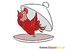 Huhn auf dem Teller im Restaurant Clipart, Bild, Grafik