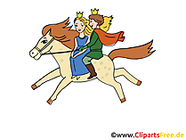 Märchenillustrationen mit Märchenfiguren - Pferd, Prinzessin, Prinz
