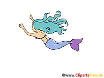 Deniz kızı masal resmi, çizgi film, grafik