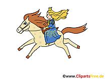 Prinzessing reitet auf dem Pferd - Märchenfiguren Bilder