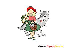 Rottkäpchen und Wolf Märchen Illustration, Bild, Clipart
