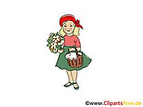 Rottkäppchen Märchen-Illustration, Bild, Clipart