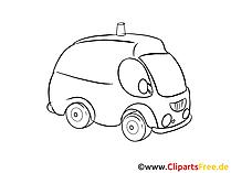 クリップアート画像黒と白の救急車