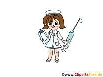 看護師と注射器の写真、漫画、画像
