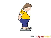 Mann auf der Waage Clipart, Bild, Cartoon, Grafik
