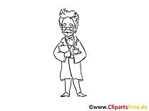 Schwarzweiss Zeichnung Arzt