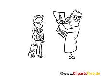 Doktorun resminde inceleme, çizim, küçük resim, çizgi film