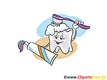 Zahn mit Zahnbürste Clipart, Bild, Grafik
