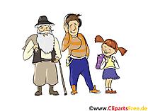 老人、若い男、女の子 - 人々、人々のイメージ、クリップアート人々