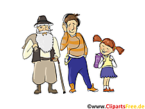 Alter Mann, Junger Mann, Mädchen - Menschen, Menschenbilder, Cliparts Menschen