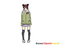 Anime Girl Bild, Clipart, Comic, Cartoon, Grafik