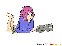 Anime Mädchen Bild, Clipart, Comic, Cartoon, Grafik