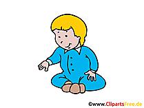Baby spielt im Sitzen Bild, Clipart, Illustration, Grafik, Zeichnung