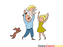 Clipart junge Familie mit Baby