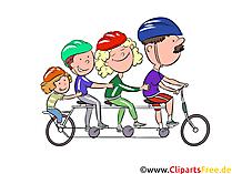 Familie am Fahrrad Clipart, Illustration, Bild