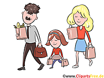 Familie beim Einkaufen Clipart, Illustration, Bild