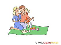Familie beim Picknick, Ausflug Clipart, Illustration, Bild