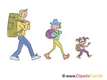 Familie im Urlaub, Ausflug Clipart, Bild, Illustration