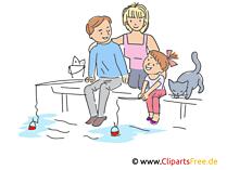 Familie im Urlaub Clipart, Illustration, Bild