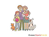 ペット連れの家族クリップアート、イラスト、絵