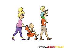 Familie mit Kindern spaziert - Menschen, Menschenbilder, Cliparts Menschen