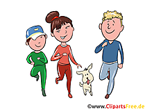 Familie treibt Sport Clipart, Illustration, Bild