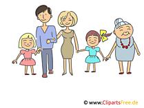 Glückliche Familie Clipart, Illustration, Bild