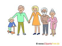 Große Familie Clipart, Illustration, Bild