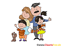 Große Familie Comic, Cartoon, Clipart, Illustration
