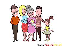 祖母、祖父、配偶者、子供のクリップアート、イラスト、絵