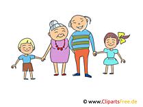 Großvater und Großmutter mit Enkeln Bild, Illustration, Clipart