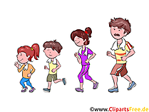 Joggen, Familie, Sport Clipart, Illustration, Bild