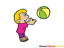 Kind spielt mit Ball Clipart, Bild, Illustration, Cartoon gratis