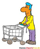 Mann mit Einkaufswagen, Kunde im Supermarket Clipart, Bild, Illustration