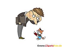 Uomo e gatto con foto di libri, clip art, illustrazione