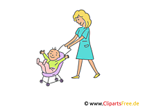 Mutter mit Baby im Kinderwagen Clipart, Illustrtion, Bild