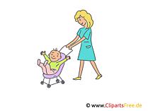 乳母車の赤ちゃんと母親。クリップアート、イラスト、画像