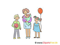 Mutter mit drei Kindern Clipart, Illustration, Bild