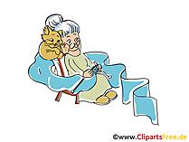 Illustrazione dell'immagine di clipart dei cartoni animati in pensione della nonna