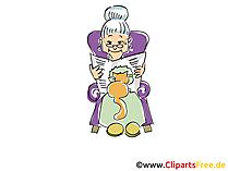 Nonna che legge l'illustrazione dell'immagine di clip art del fumetto del giornale