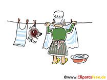 Nonna che fa l'illustrazione dell'immagine di clipart del fumetto della lavanderia
