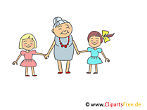 Oma mit Enkelkindern Clipart, Bild, Illustration